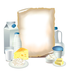 Dairy products and empty paper vector