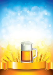Beer mug on wheat field vector background
