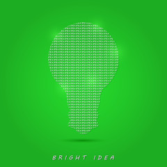 Shiny White Bulb on Green Background