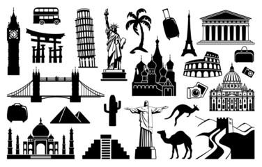 In de dag Doodle Landmark travel icons