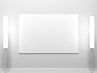 white canvas hanging on the wall