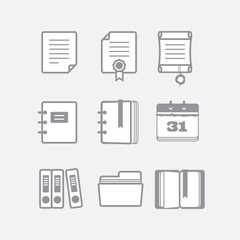 Office documents vector icons set