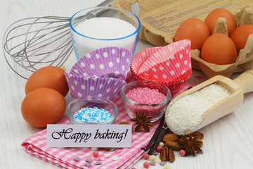 Happy baking card with selection of ingredients