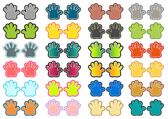 Set of 24 isolated pair of hands in different colors