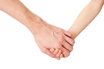 A handshake isolated on white
