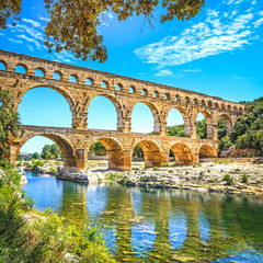 Obraz Roman aqueduct Pont du Gard, Unesco site.Languedoc, France. - fototapety do salonu