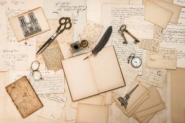 antique accessories, Paris postcards, old letters, ink pen