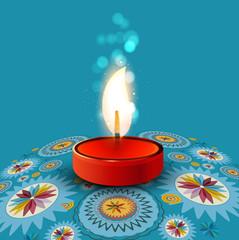 Beautiful rangoli Diya colorful creative background vector