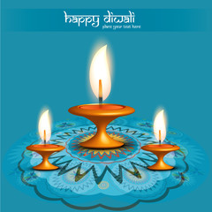 Rangoli diwali diya blue colorful creative design vector illustr