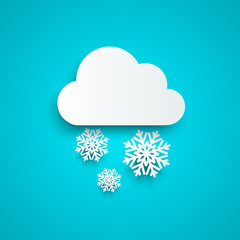 Paper cloud with snowflakes