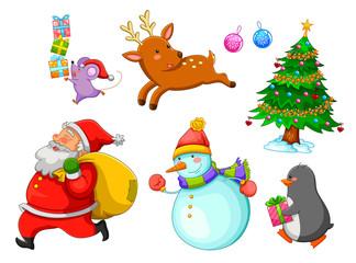 set of Christmas cartoons