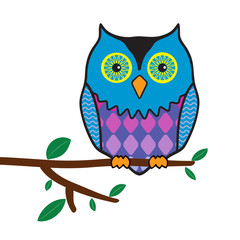 illustration of funny owl sitting on a tree branch