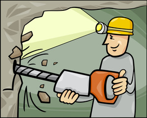miner at work cartoon illustration