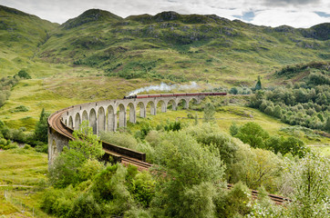 Glenfinnan viaduct with steam train