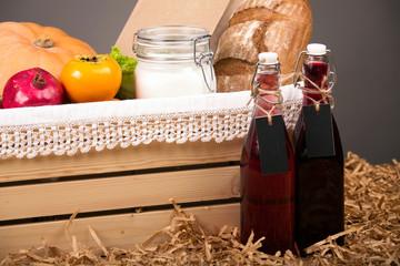 Seasonal Food Items in a Basket