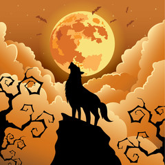 Silhouette Wolf howling at the moon ,Halloween Vector