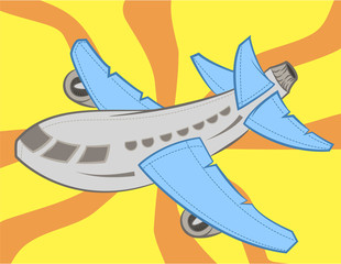 Illustration of cute airplane vector with blue wings