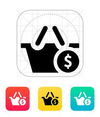 Shopping basket with dollar sign icon.