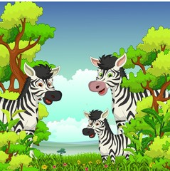 Wall Mural - Family of Zebra cartoon with forest background