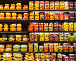 Display of Fruit in Clear Plastic Containers
