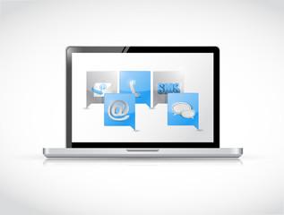 laptop message bubble communication concept