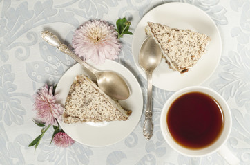 Wall Mural - Ricotta and Pear Cake with cup of tea