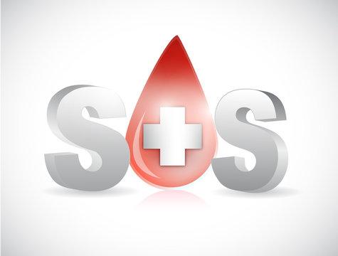 sos blood illustration design