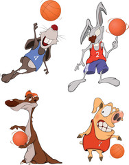 The basketball players. Clip Art. Cartoon