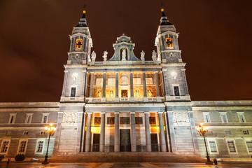 Santa Maria la Real de La Almudena in Madrid at night