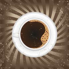 Cup of black coffee - vector illustration
