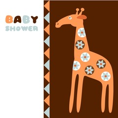 Cute baby shower birthday invitation card with giraffe, vector