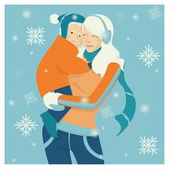 Frau mit Kind im Schnee