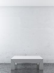 white room with podium