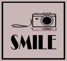vintage camera and smile graphic design