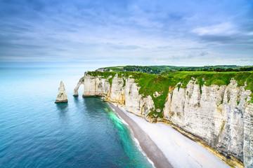 Etretat Aval cliff landmark and ocean . Normandy, France. Fototapete