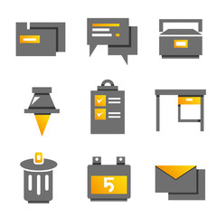 office and organization icons, gold theme