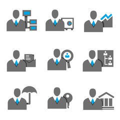 business people icons, profile, blue theme