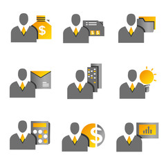 business people icons, profile, gold theme