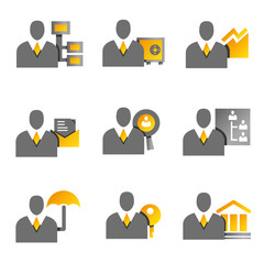 office people icons, office management set