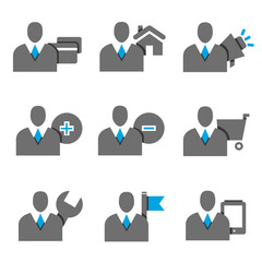 business profiles, business man set, avatar set