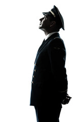 Fototapeta man in airline pilot uniform silhouette obraz