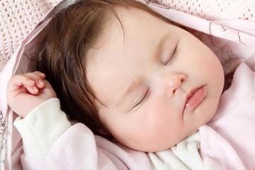 cute baby sleeping, beautiful kid's face closeup
