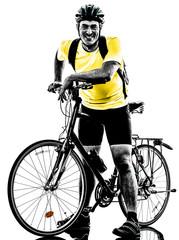 Wall Mural - man bicycling  mountain bike standing silhouette