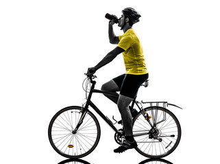 Wall Mural - man bicycling  mountain bike drinking silhouette