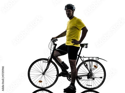 Wall mural man bicycling  mountain bike standing silhouette