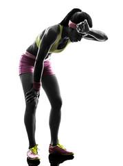 Wall Mural - woman runner running tired breathless silhouette