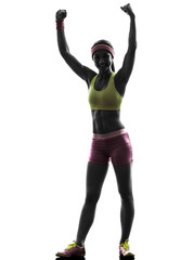 Wall Mural - woman exercising fitness arms raised   silhouette