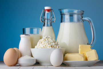 Dairy products, milk, cottage cheese, eggs