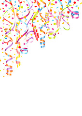 Party Background Streamers & Confetti Color Mix Poster A4