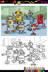 cartoon robots group coloring page